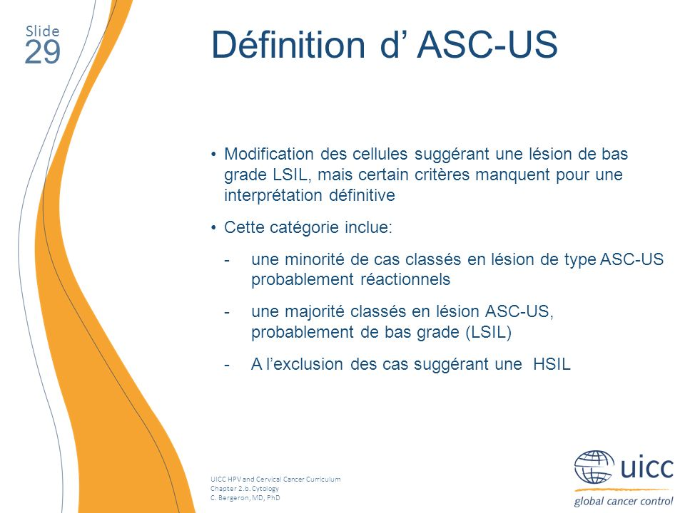 Définition d' ASC-US 29 Slide