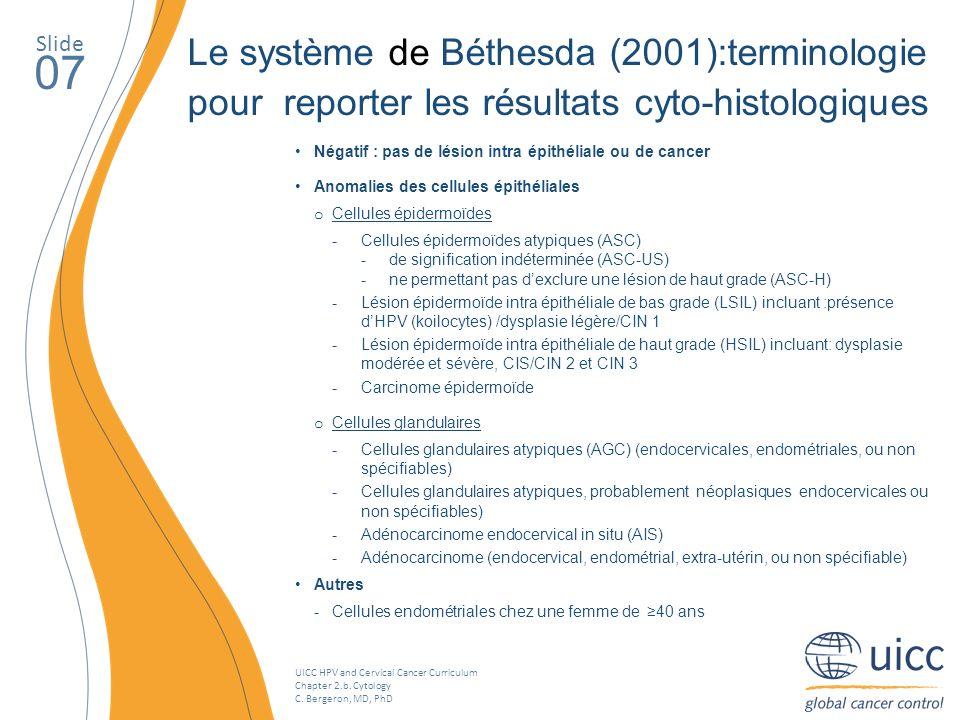 Slide Le système de Béthesda (2001):terminologie pour reporter les résultats cyto-histologiques. 07.