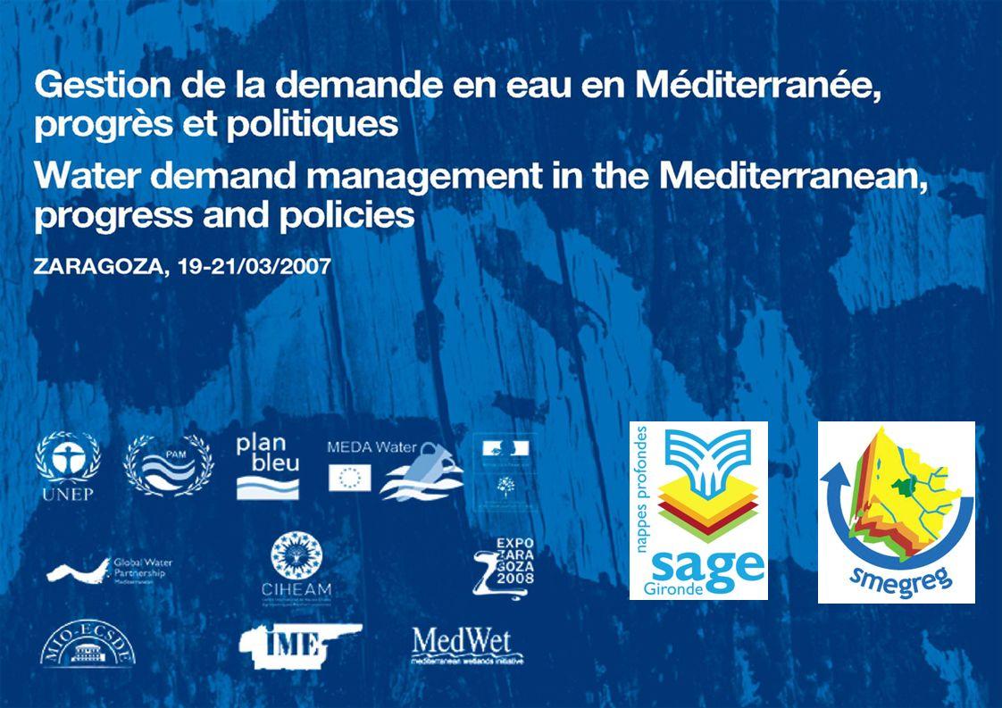 Je vais vous présenter sommairement la politique de gestion de la demande en eau appliquée sur le département de la Gironde et inscrite dans un Schéma d Aménagement et de Gestion des Eaux, le SAGE nappes profondes de Gironde, c est-à-dire un document de planification à portée réglementaire prévu par le Loi sur l eau du 3 janvier 1992.