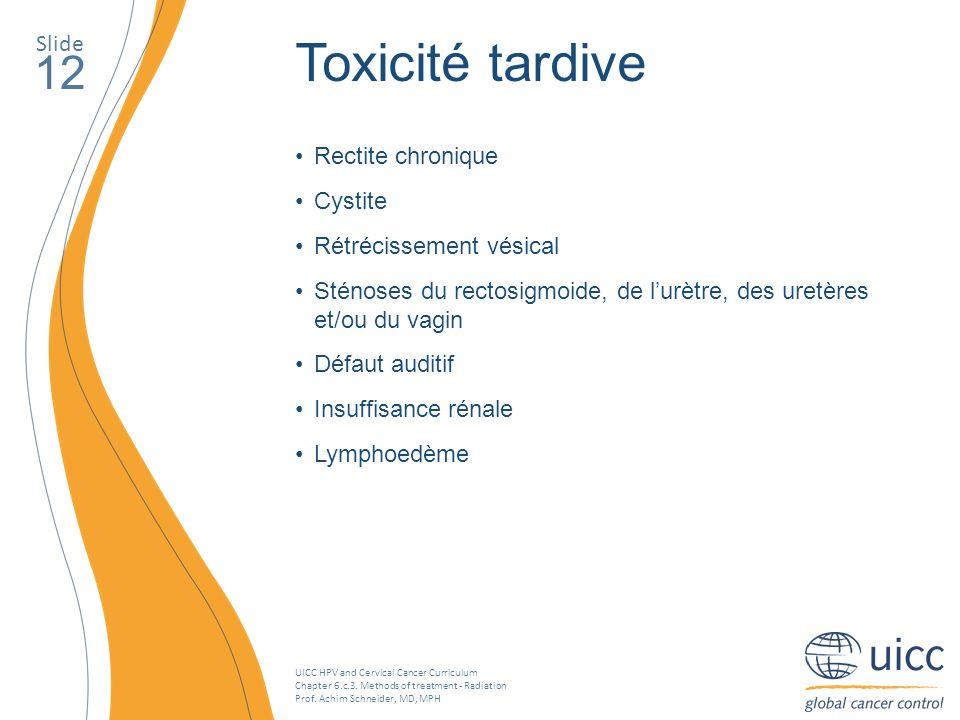 Toxicité tardive 12 Slide Rectite chronique Cystite