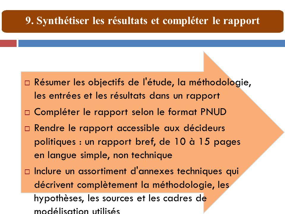9. Synthétiser les résultats et compléter le rapport