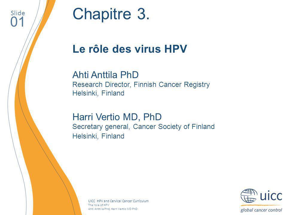 Chapitre 3. 01 Le rôle des virus HPV Ahti Anttila PhD