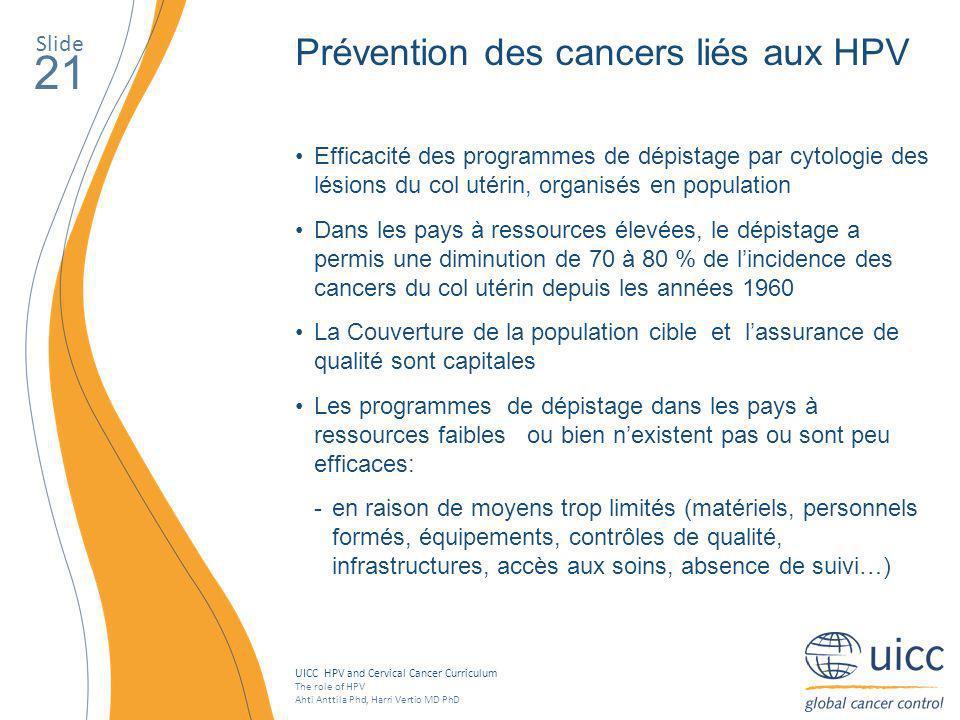 21 Prévention des cancers liés aux HPV Slide