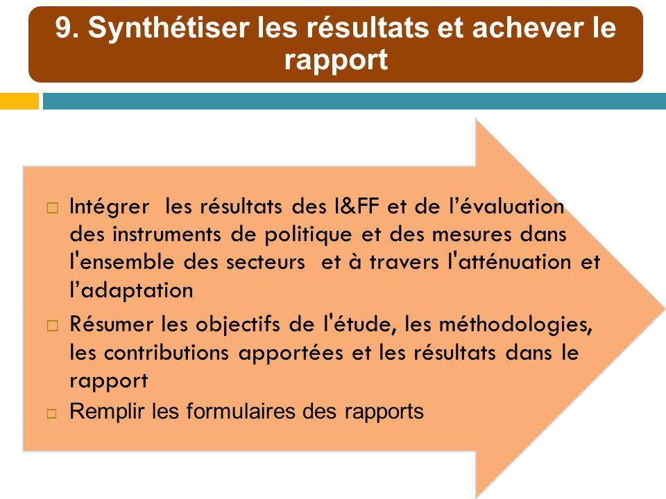 9. Synthétiser les résultats et achever le rapport