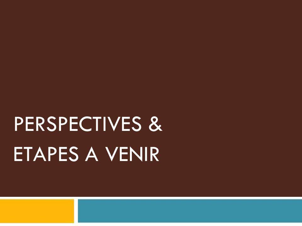 PERSPECTIVES & ETAPES A VENIR