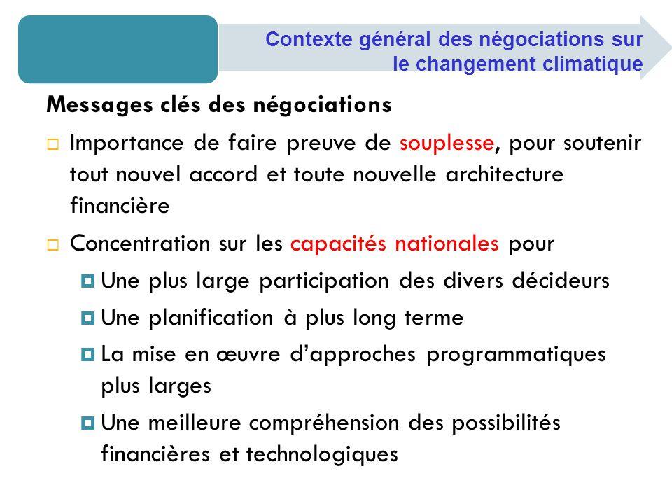 Messages clés des négociations