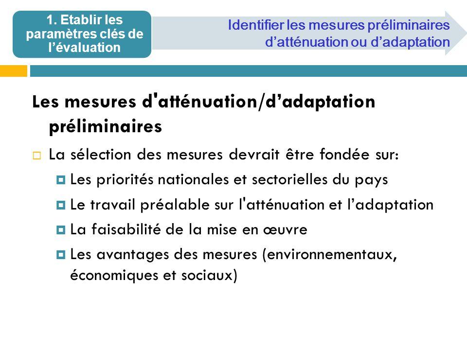 1. Etablir les paramètres clés de l'évaluation