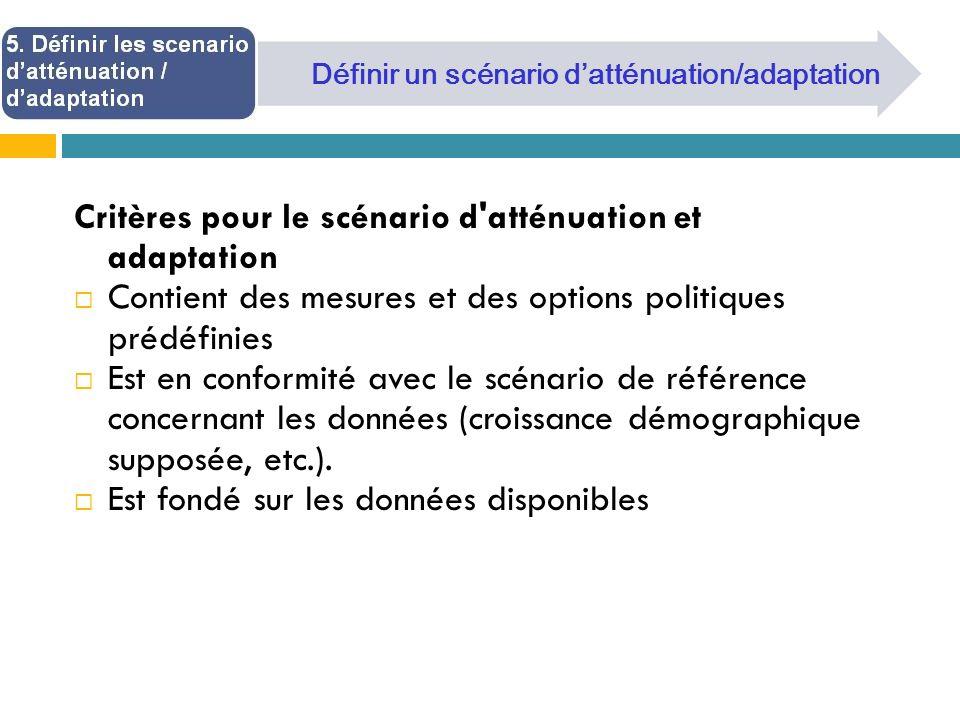 Critères pour le scénario d atténuation et adaptation