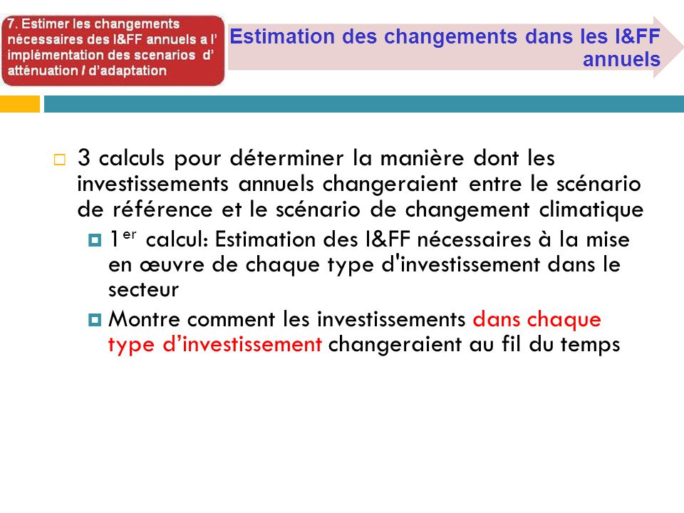 Estimation des changements dans les I&FF annuels
