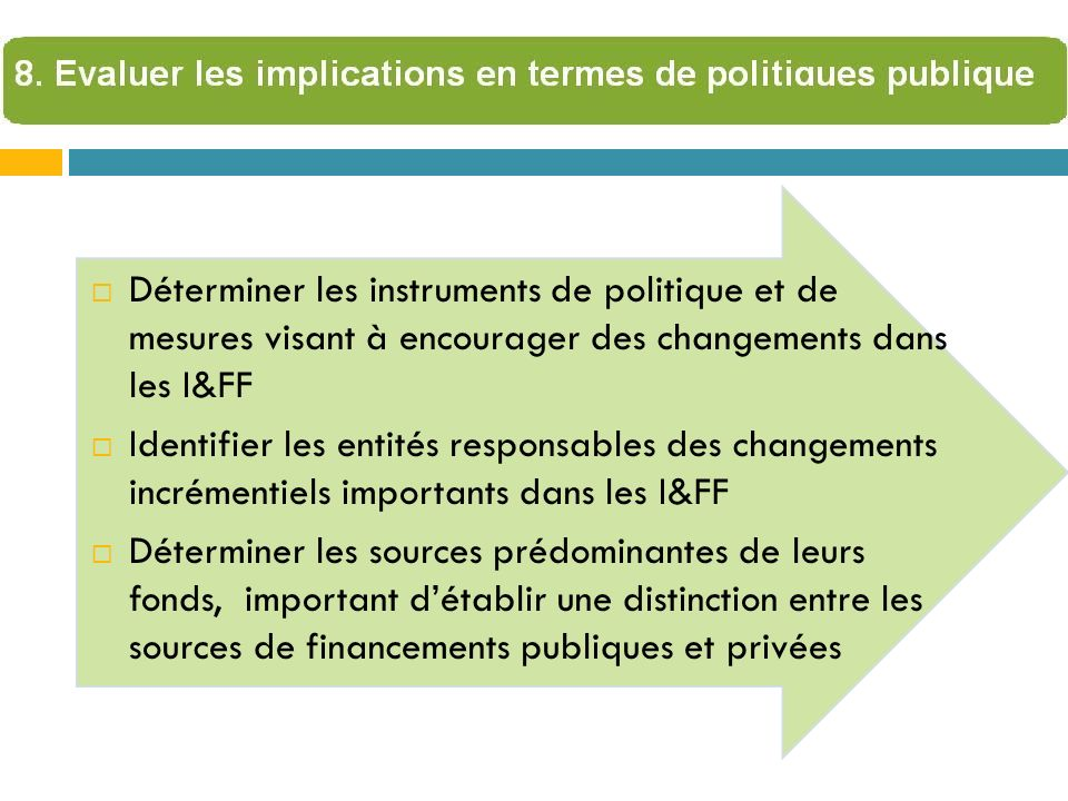 Déterminer les instruments de politique et de mesures visant à encourager des changements dans les I&FF