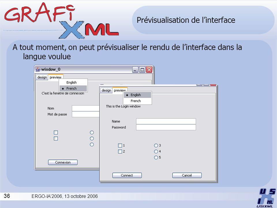 Prévisualisation de l'interface