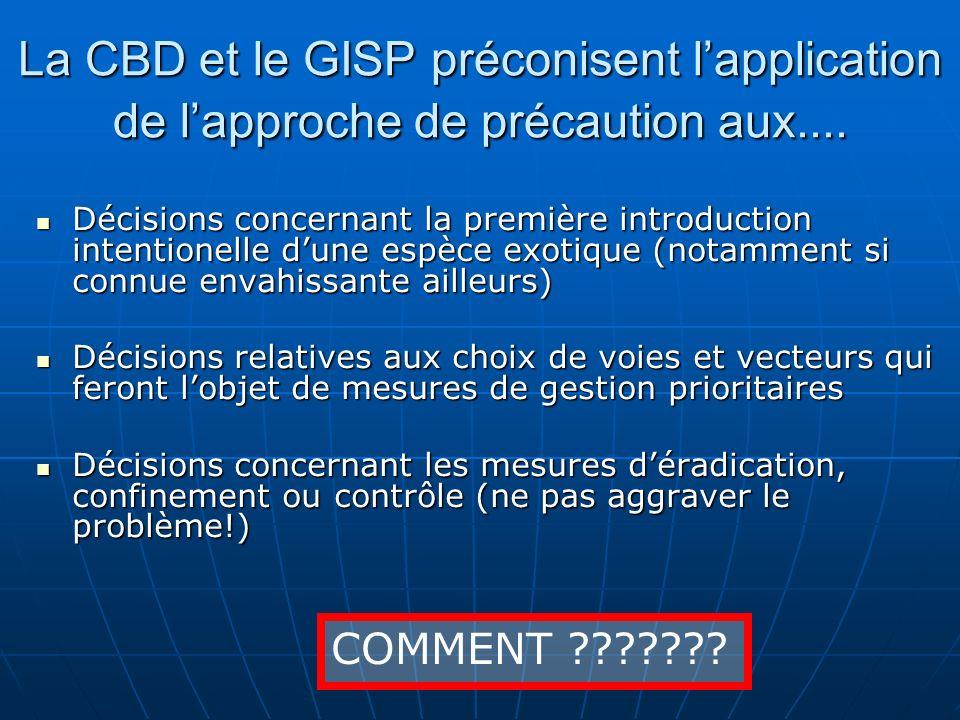 La CBD et le GISP préconisent l'application de l'approche de précaution aux....
