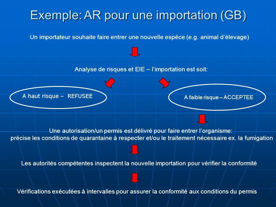 Exemple: AR pour une importation (GB)