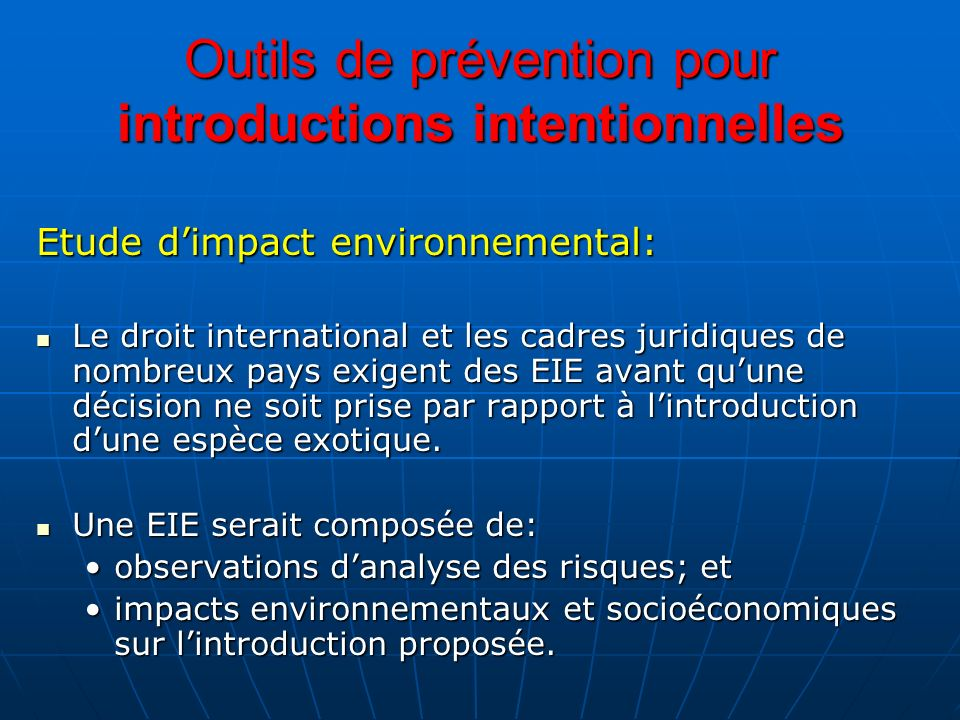 Outils de prévention pour introductions intentionnelles