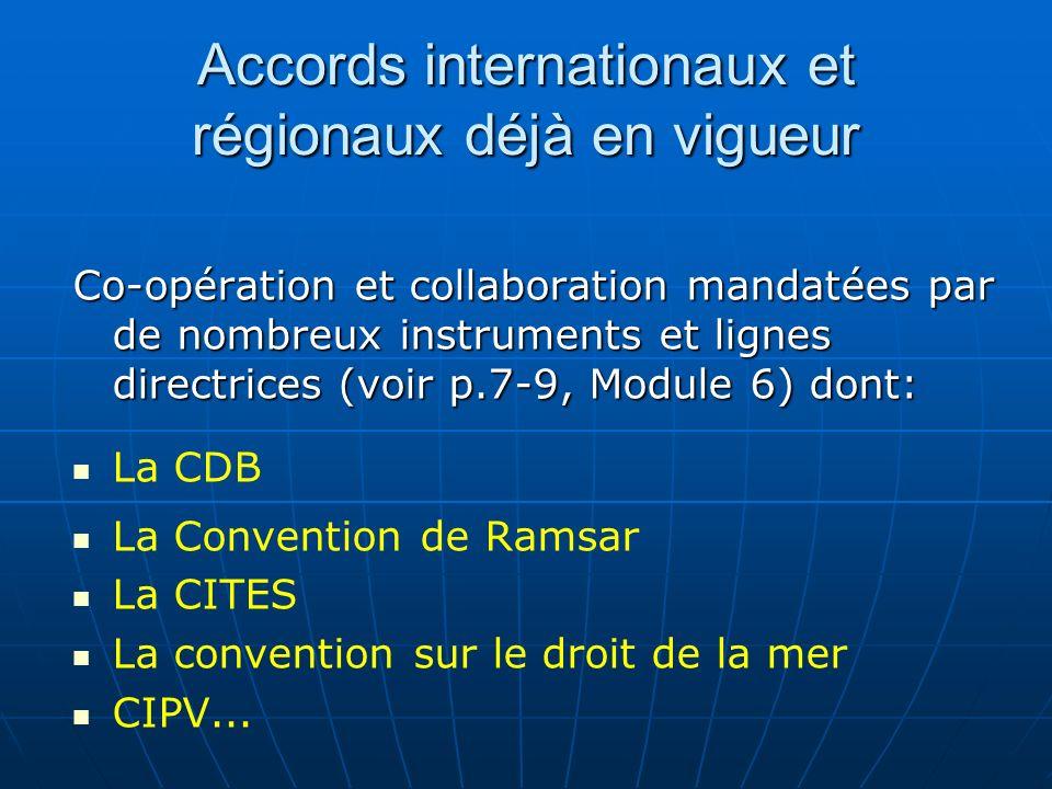 Accords internationaux et régionaux déjà en vigueur