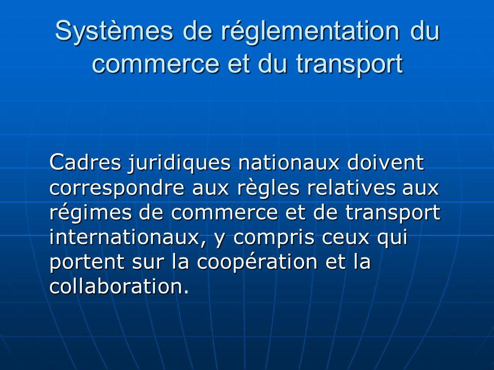 Systèmes de réglementation du commerce et du transport