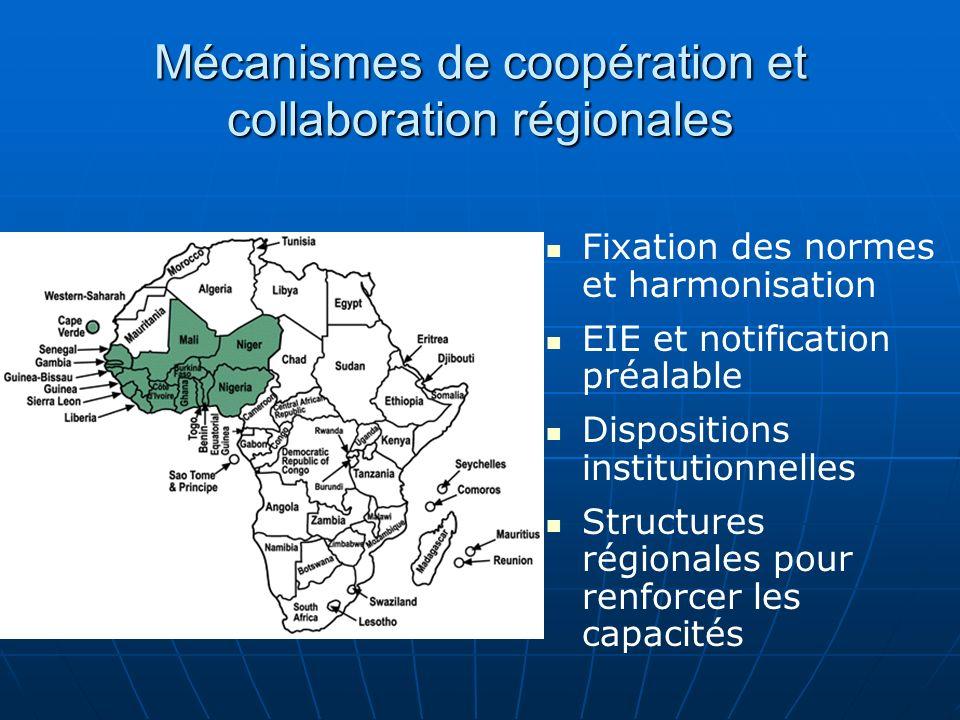 Mécanismes de coopération et collaboration régionales