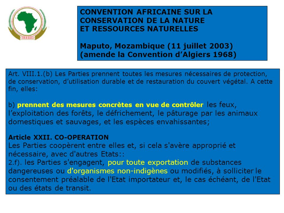 CONVENTION AFRICAINE SUR LA CONSERVATION DE LA NATURE