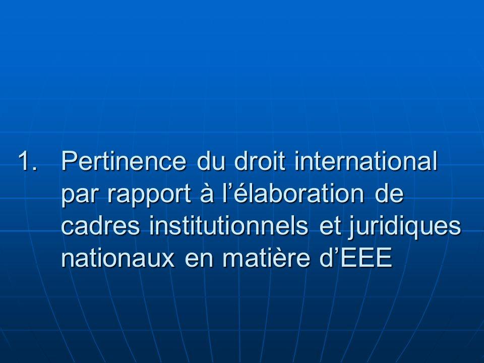 Pertinence du droit international par rapport à l'élaboration de cadres institutionnels et juridiques nationaux en matière d'EEE
