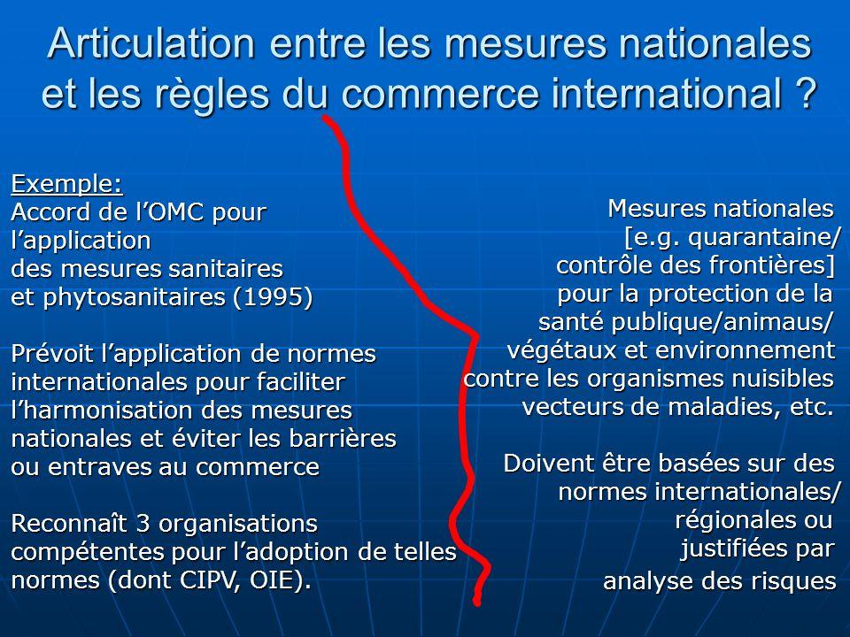 Articulation entre les mesures nationales et les règles du commerce international