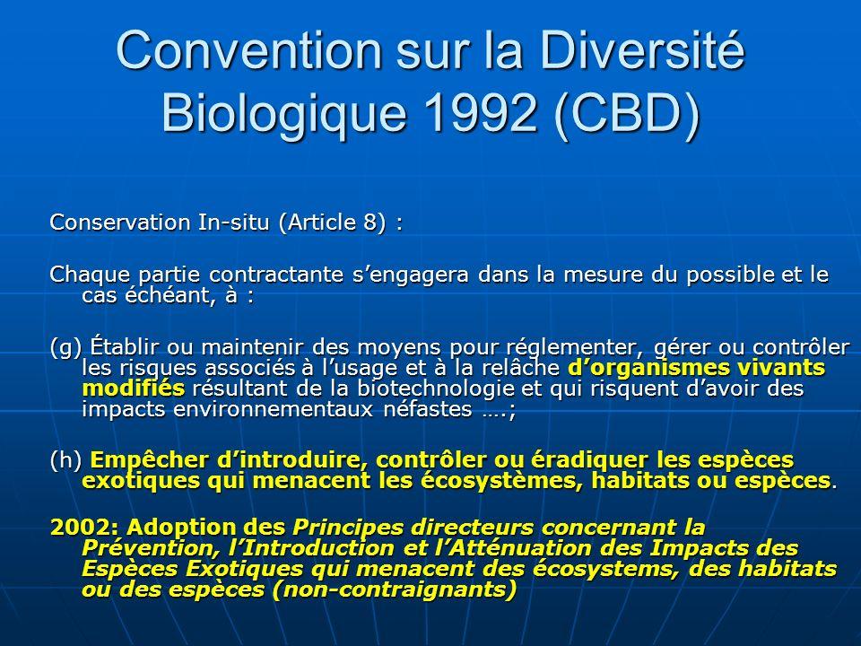 Convention sur la Diversité Biologique 1992 (CBD)