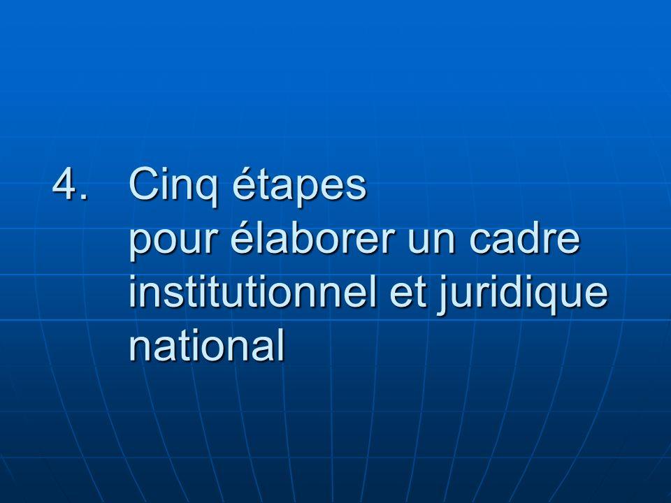 Cinq étapes pour élaborer un cadre institutionnel et juridique national