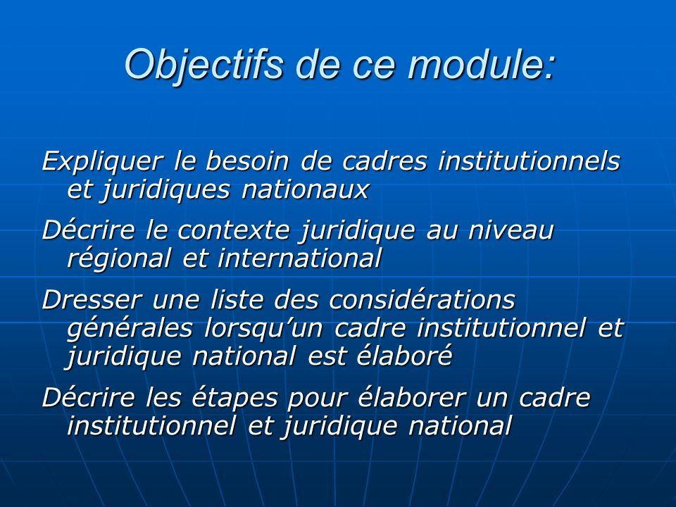 Objectifs de ce module: