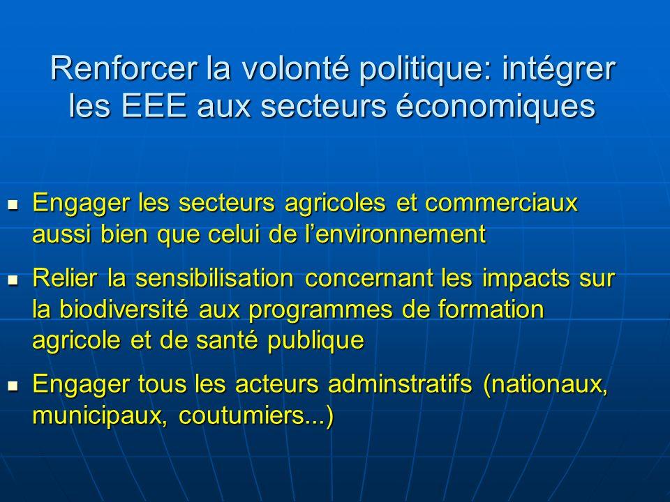 Renforcer la volonté politique: intégrer les EEE aux secteurs économiques