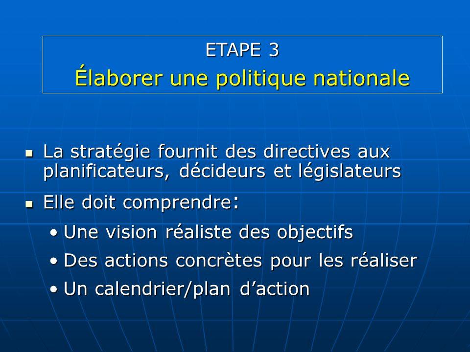 Élaborer une politique nationale