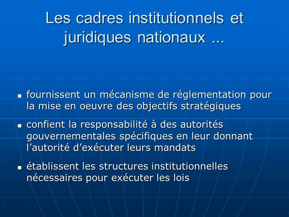 Les cadres institutionnels et juridiques nationaux ...