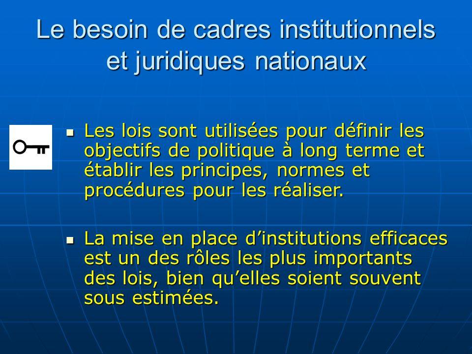 Le besoin de cadres institutionnels et juridiques nationaux