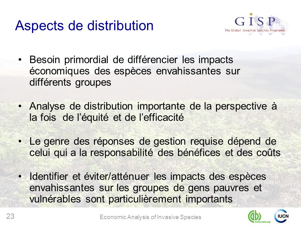 Aspects de distribution