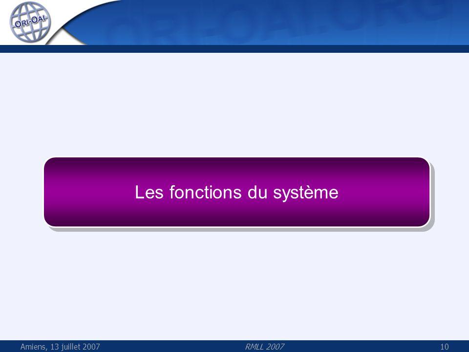 Les fonctions du système