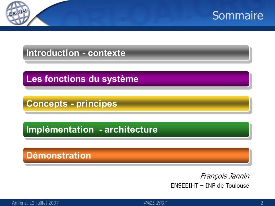 Sommaire Introduction - contexte Les fonctions du système
