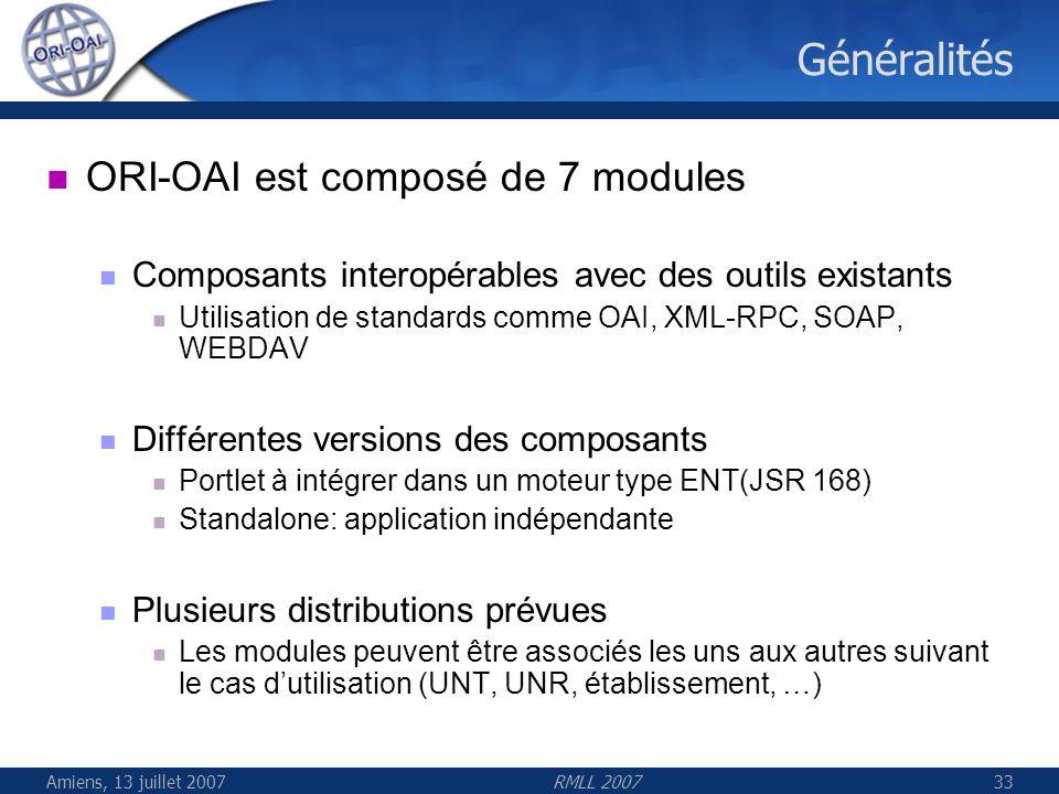 Généralités ORI-OAI est composé de 7 modules