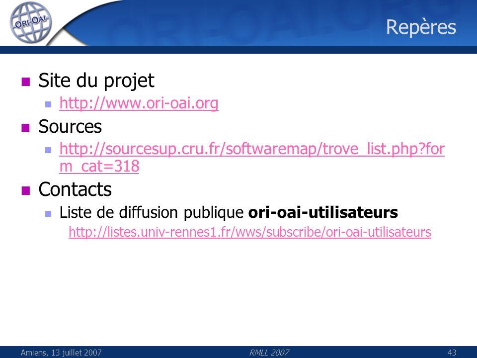Repères Site du projet Contacts Sources http://www.ori-oai.org