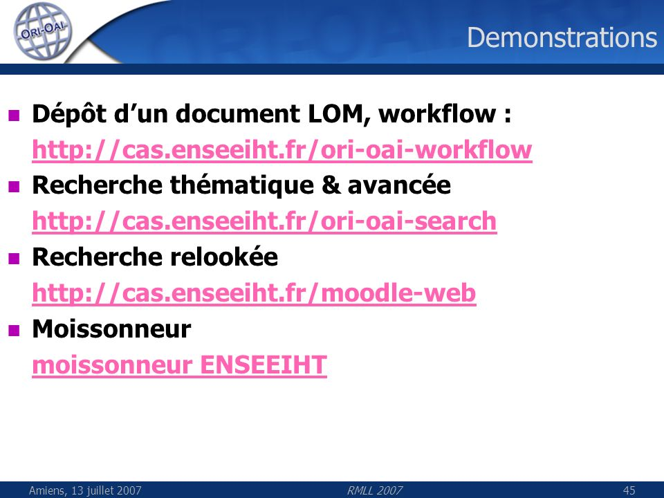 Demonstrations Dépôt d'un document LOM, workflow :