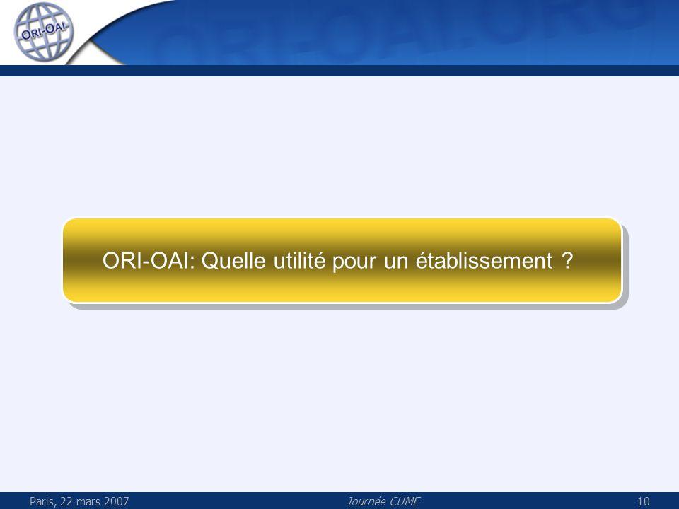 ORI-OAI: Quelle utilité pour un établissement