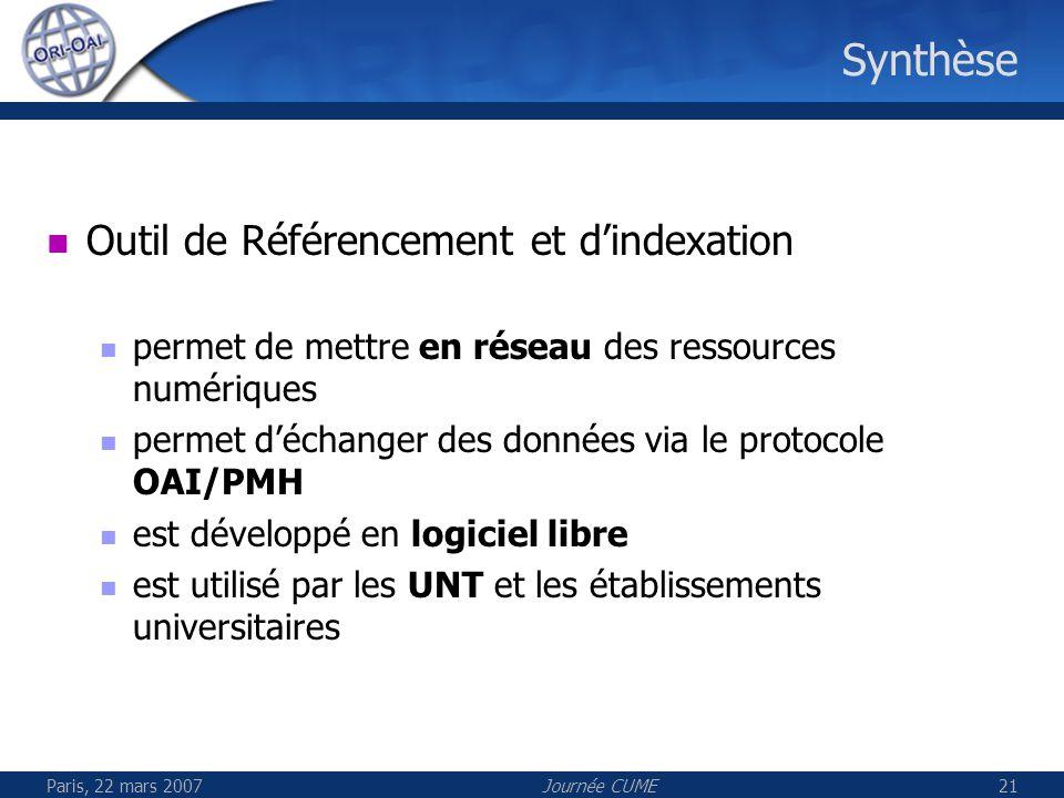 Synthèse Outil de Référencement et d'indexation