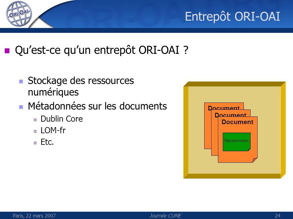 Entrepôt ORI-OAI Qu'est-ce qu'un entrepôt ORI-OAI
