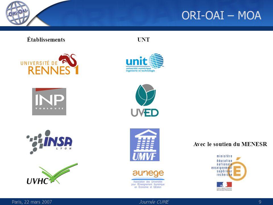 ORI-OAI – MOA Établissements UNT Avec le soutien du MENESR