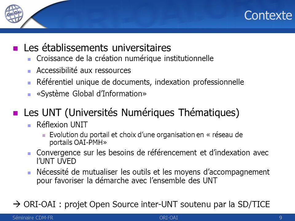 Contexte Les établissements universitaires