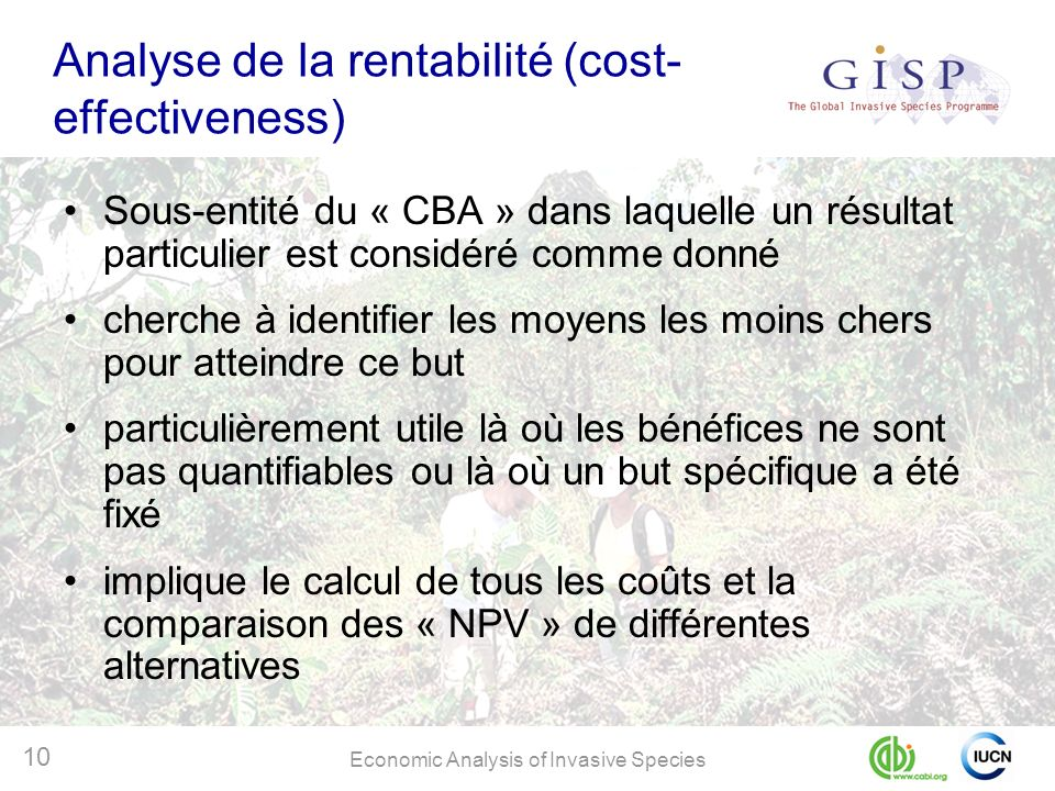 Analyse de la rentabilité (cost-effectiveness)