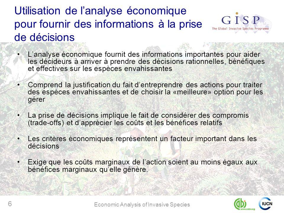 Utilisation de l'analyse économique pour fournir des informations à la prise de décisions