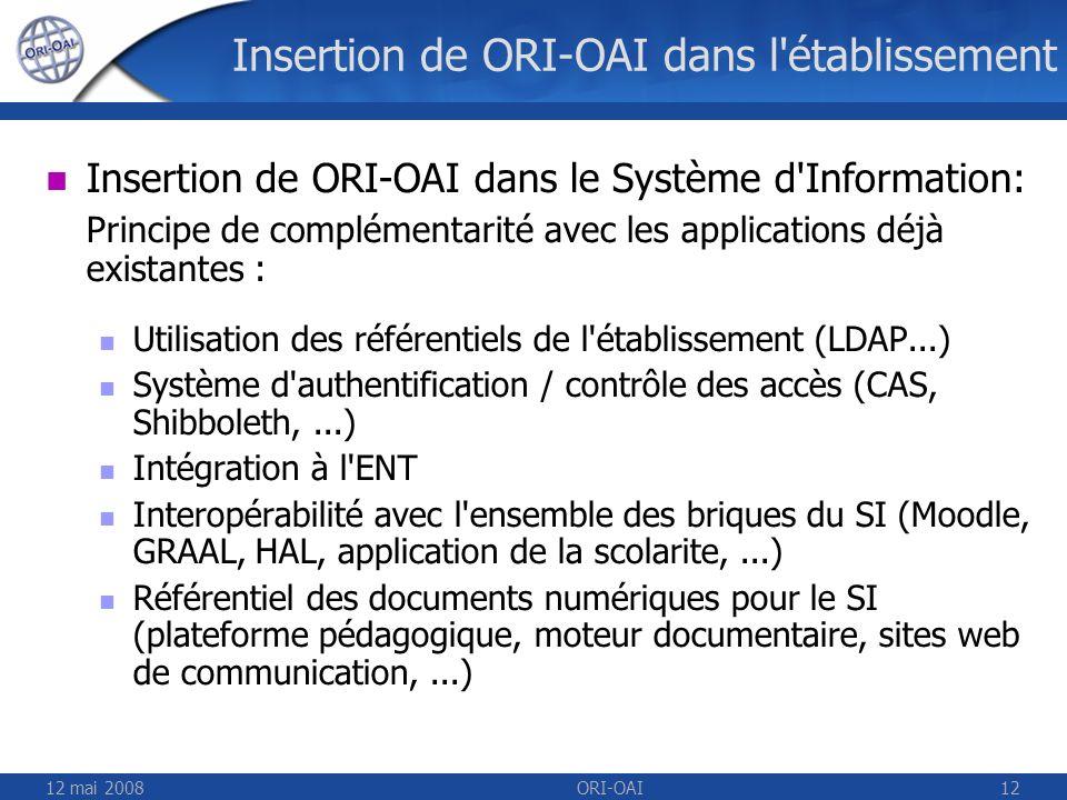 Insertion de ORI-OAI dans l établissement