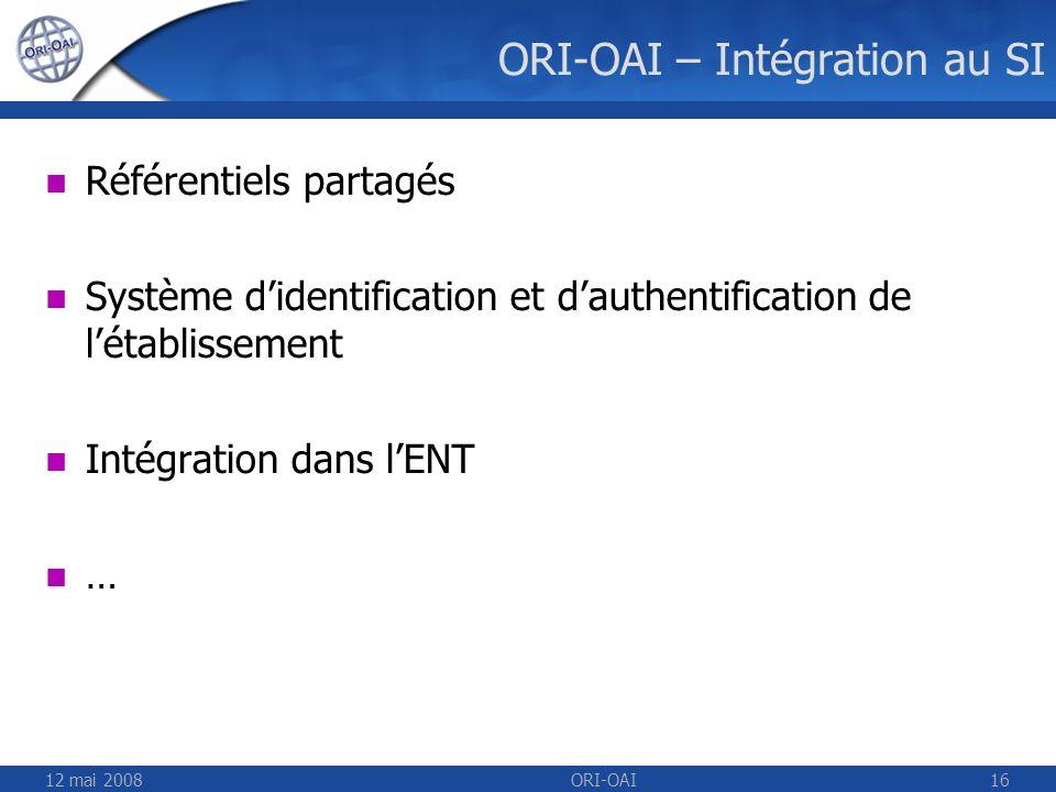 ORI-OAI – Intégration au SI