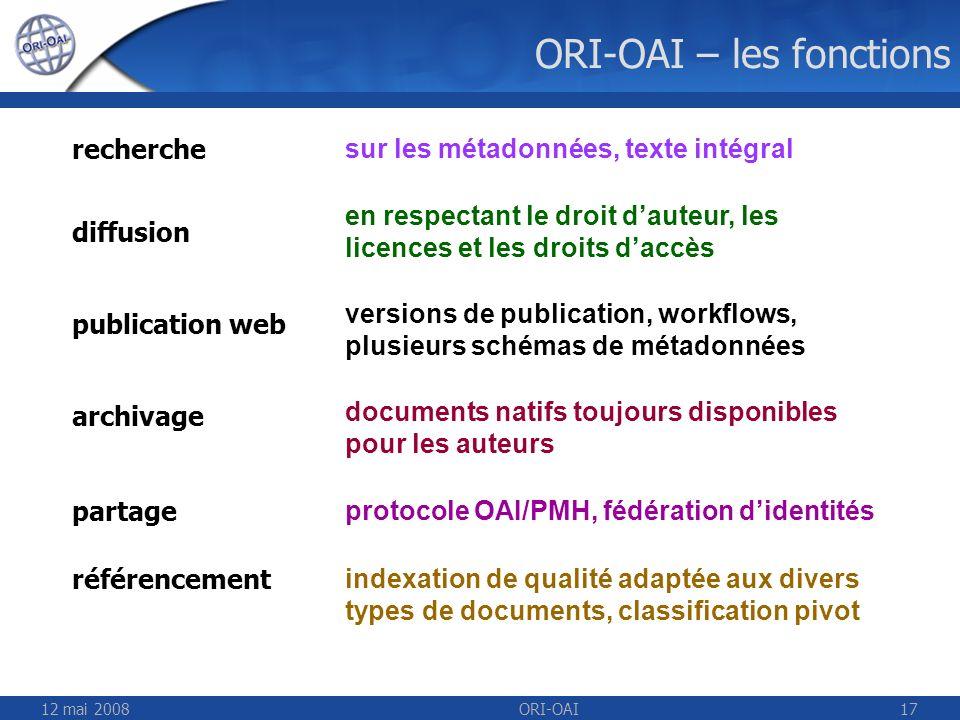 ORI-OAI – les fonctions