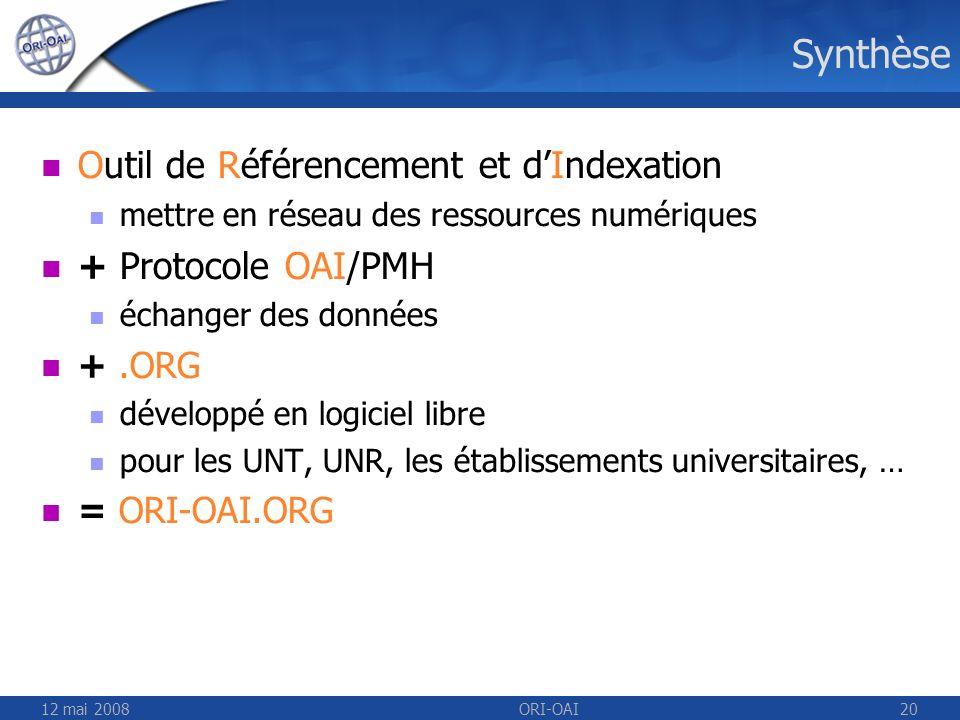 Synthèse Outil de Référencement et d'Indexation + Protocole OAI/PMH