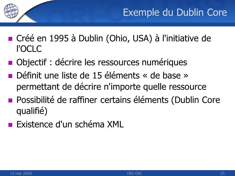 Exemple du Dublin Core Créé en 1995 à Dublin (Ohio, USA) à l initiative de l OCLC. Objectif : décrire les ressources numériques.
