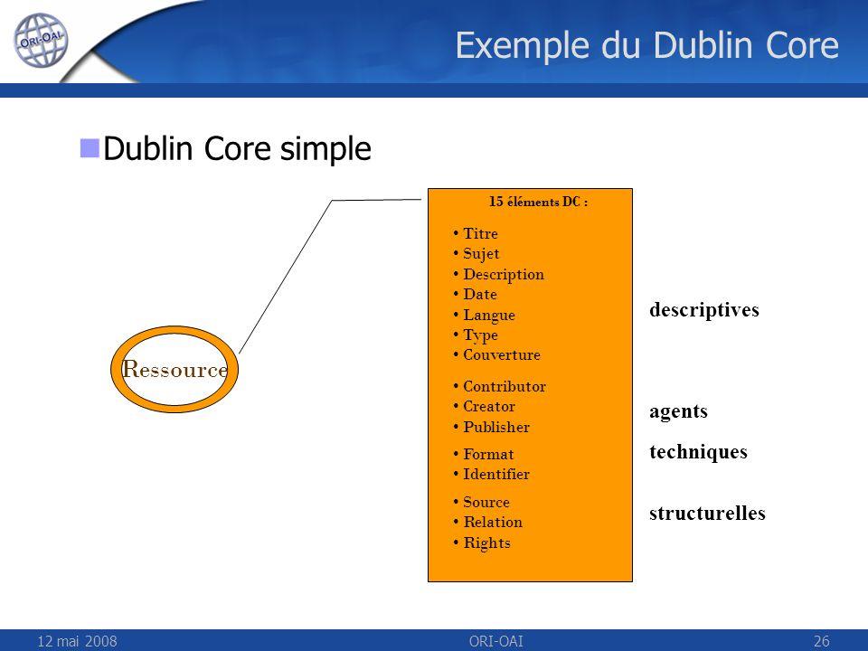 Exemple du Dublin Core Dublin Core simple Ressource descriptives